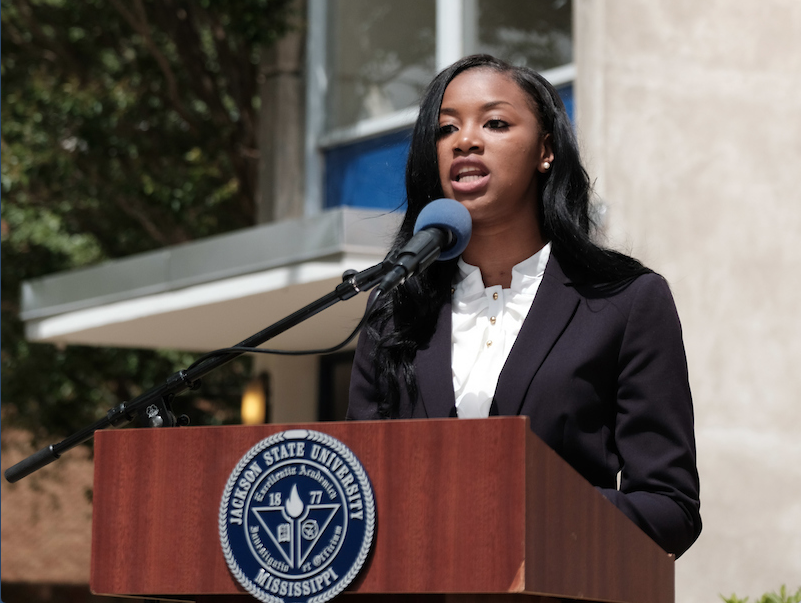 Miss JSU-elect, Comelia Walker (2017-2018), reflected on the history of a people known for overcoming trials and tribulations. (Photo by Charles A. Smith/JSU)