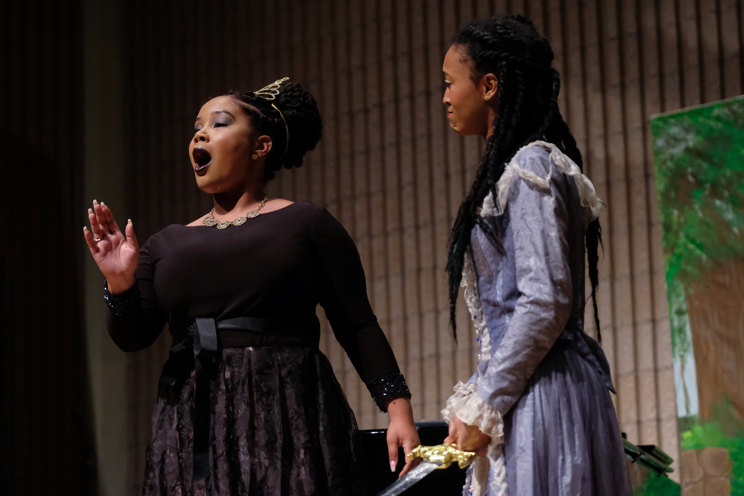 "Hilary Watkins, JSU Senior, performs as the evil Queen of the night in Mozart's ""Die Zauberflöte""  and her daughter Pamina is played by Aja Brimm, a music major. (Charles A. Smith/JSU)"