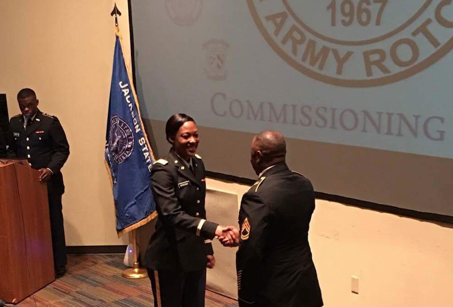 During the College of Liberal Arts commissioning ceremony in December, JSU Tiger Battalion congratulates Eugenia Grigsby as one of its newest second lieutenants.