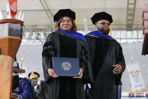 Honorary degrees in Doctorate of Human Letters were presented to philanthropists Winston R. Pittman Sr. and wife Alma Dent Pittman. Owners of the seventh-largest automotive group in the nation, they have donated more than $250,000 to the university. (Photo by Charles A. Smith/JSU)