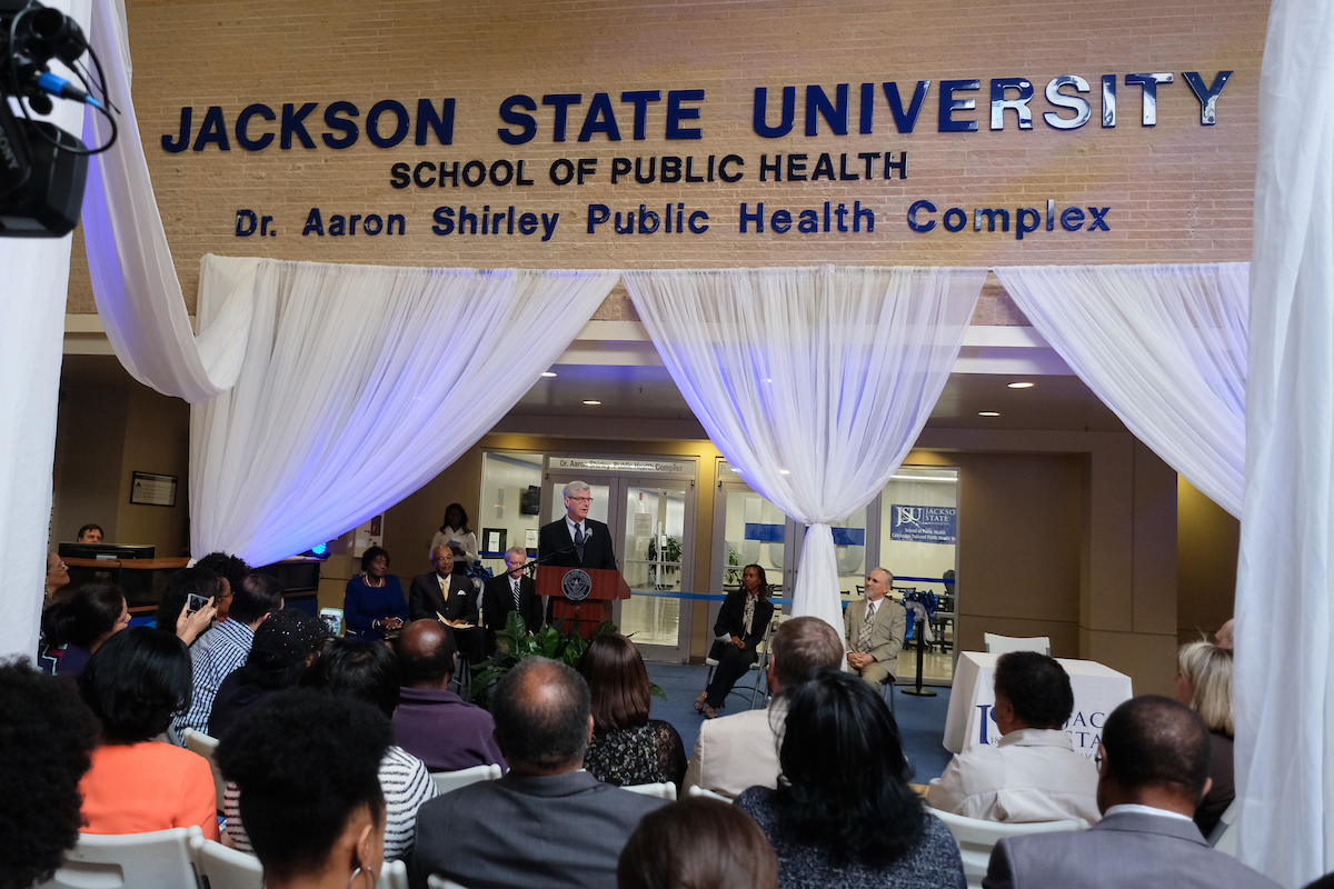 "Mississippi Gov. Phil Bryant said the School of Public Health will lead to a better quality of life for the state. He also said he supports ""this great urban university"" and views the location of the new school as ""an area that must be wholly involved in public health."" (Photo by Charles A. Smith/JSU)"