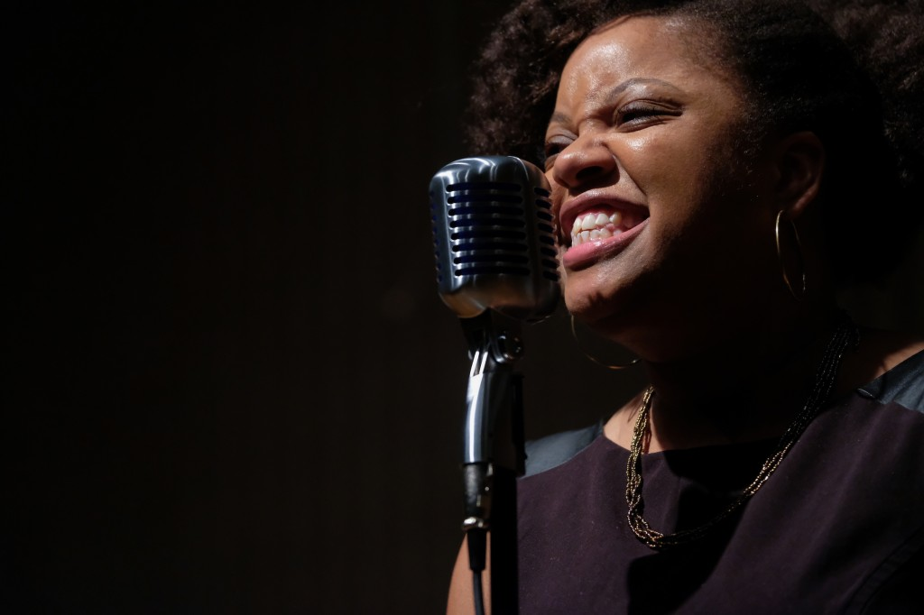 "JSU alumnus Sarah Hodges returns and sings an original work titled ""Pursuit of Peace."" (Charles A. Smith/JSU)"