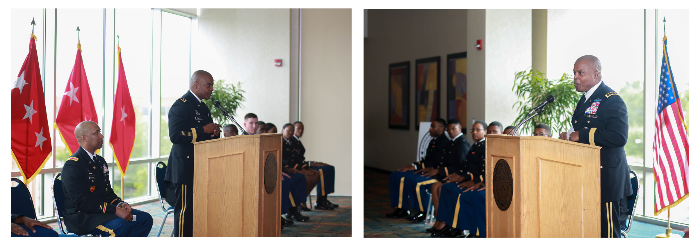 "Lt. Gen. Stephen M. Twitty, 38th commander of the First Army, addresses cadets preparing to commission as second lieutenants. He told them, ""You could walk out this door and go from a student to a true lieutenant,"" serving in war-torn countries. He told the soon-to-be officers that times were starkly different from when he sat the same seats as the cadets. ""Today, we have 150,000 service members deployed abroad in combat or on the edge of combat. We are a nation at war."" (Photo by Kentrice S. Rush/JSU)"