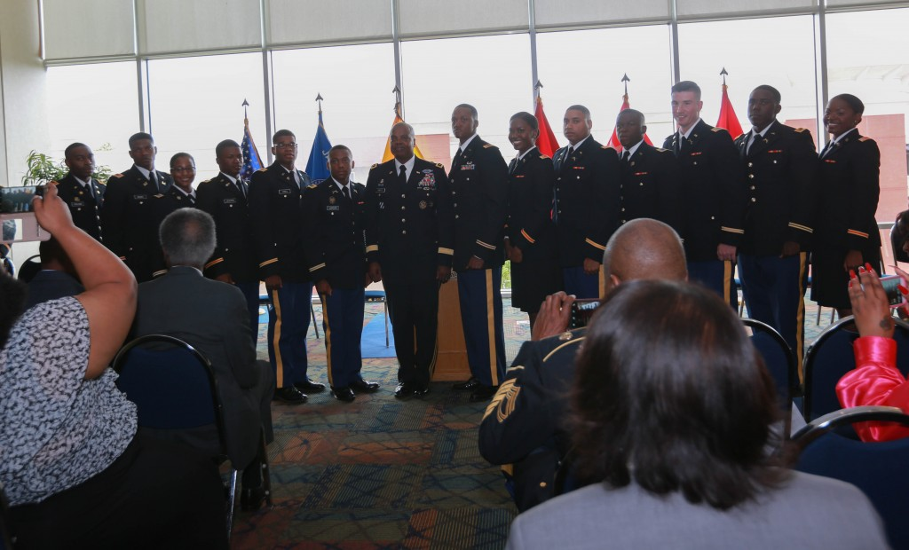 Pictured with Twitty, the 13 new second lieutenants will deployed to locations throughout the world to places such as Kuwait and beyond. (Photo by Kentrice S. Rush/JSU)