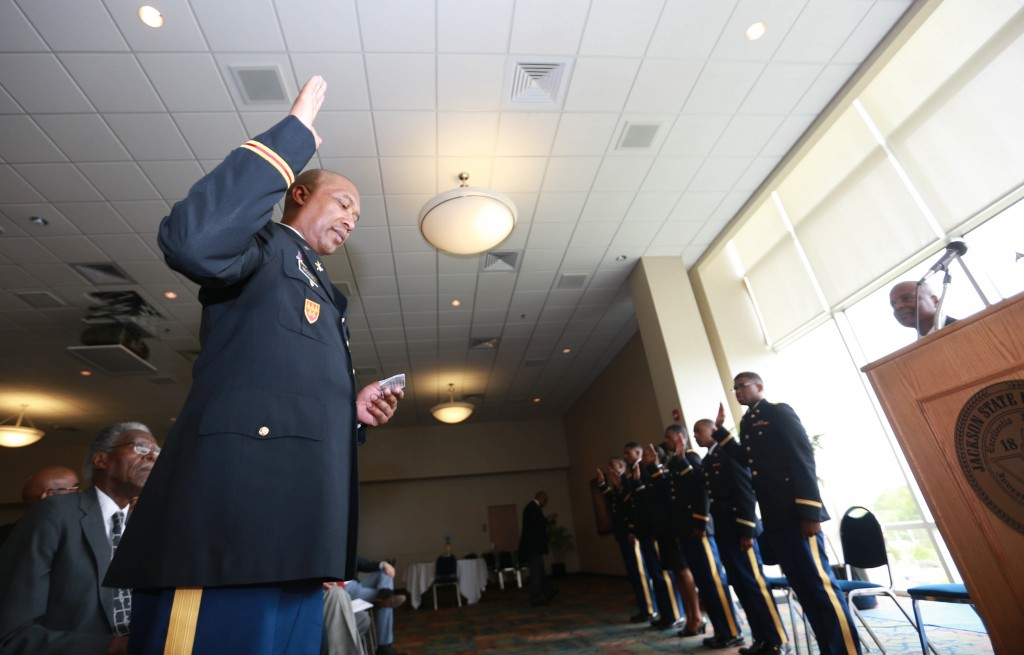 Lt. Col. Dexter Brookins, chair and professor of Military Science in the College of Liberal, administers the oath of office. (Photo by Kentrice S. Rush/JSU)