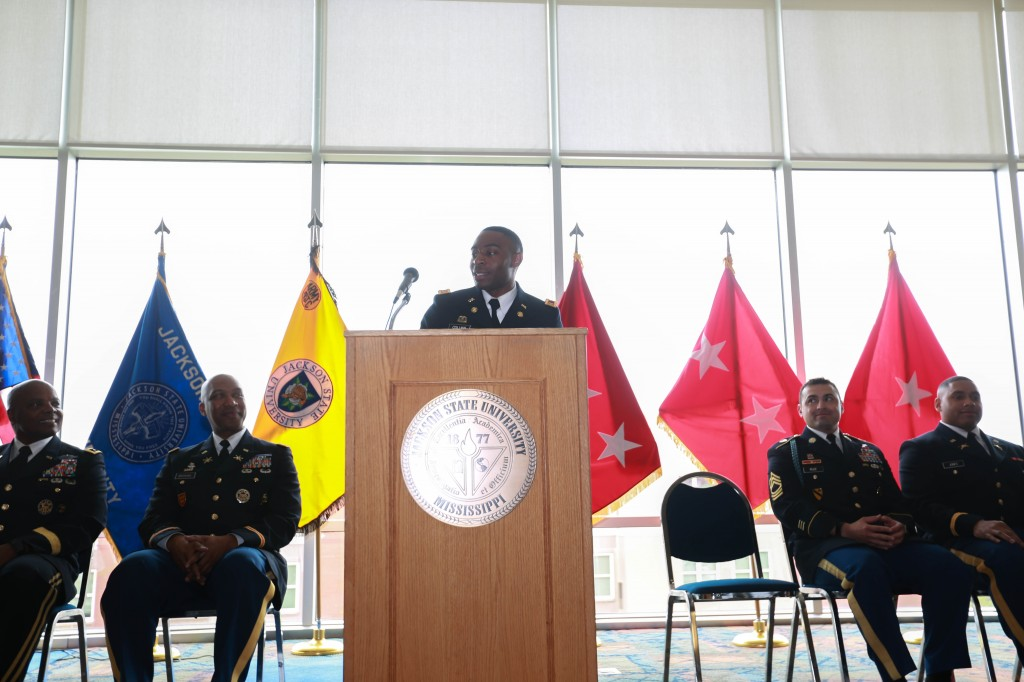 Second Lt. Deunta Collins, a native of Edwards, Miss., will commission into the Mississippi Army National Guard as a transportation officer, assigned to the 1108th Theater Aviation Sustainment Maintenance Group. During Saturday's graduation commencement in the Mississippi Veterans Memorial Stadium, he earned his bachelor of science degree in therapeutic recreation from JSU's College of Health, Physical Education and Recreation. (Photo by Kentrice S. Rush/JSU)