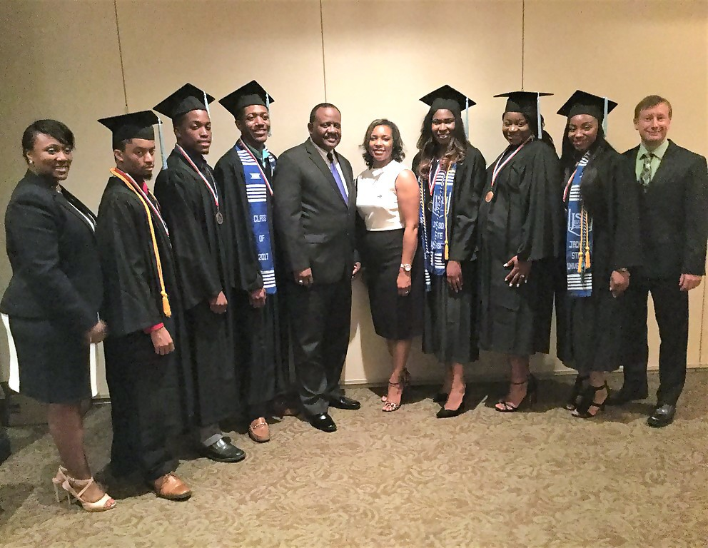 Pictured left to right: Dr. Tamika Bradley, associate dean of the College of Education and Human Development; Vernell Hopkins, U.S. PREP graduate; Deon Holder, U.S. PREP graduate; DuShane Lockett, U.S. PREP graduate; Dr. Daniel Watkins, dean of the College of Education and Human Development; Dr. Chandar Lewis, U.S. PREP site coordinator; Destiny Johnson, U.S. PREP graduate; Ashanti White, U.S. PREP graduate; LaQuinte Campbell, U.S. PREP graduate; Dr. Juette Bingham, associate dean of the College of Education and Human Development (Picture special to University Communications)
