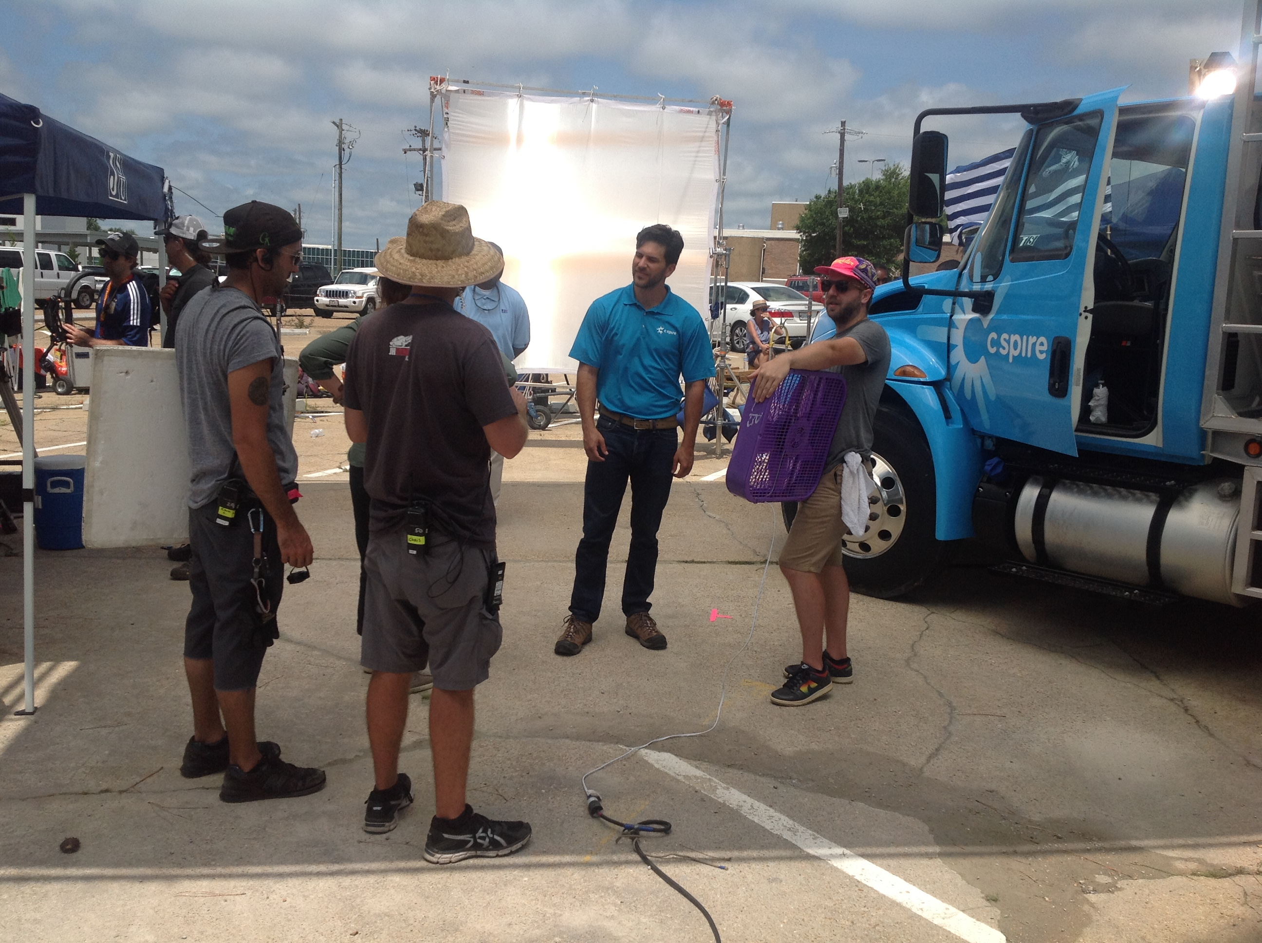 An actor for C Spire listens to instructions for the crew. (Photo by L.A. Warren/JSU)