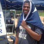 JSU student Cecil Hill finds a way to beat the heat. (Photo by L.A. Warren/JSU)