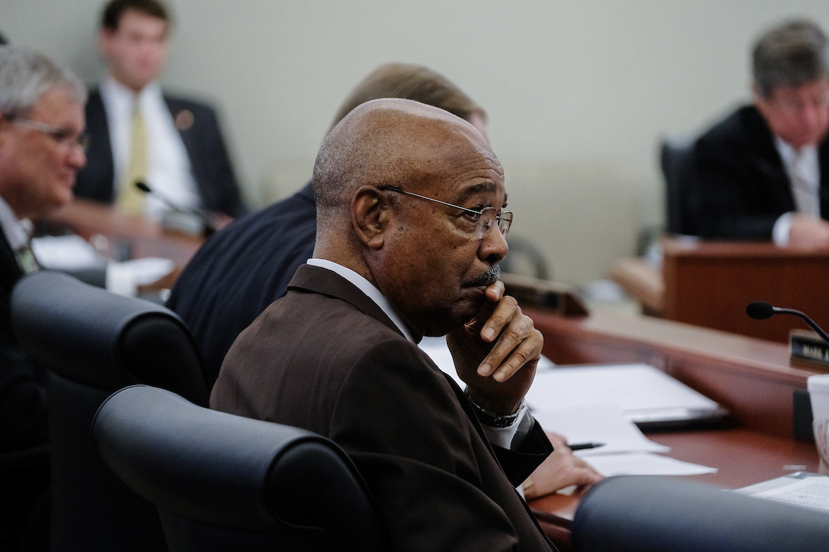With a pensive look, Jackson State University interim President Rod Paige listens during a meeting Thursday of the Mississippi Board of Trustees of State Institutions of Higher Learning. During the monthly gathering, Paige was credited with helping navigate JSU through challenging fiscal times. (Photo by Charles A. Smith/JSU)