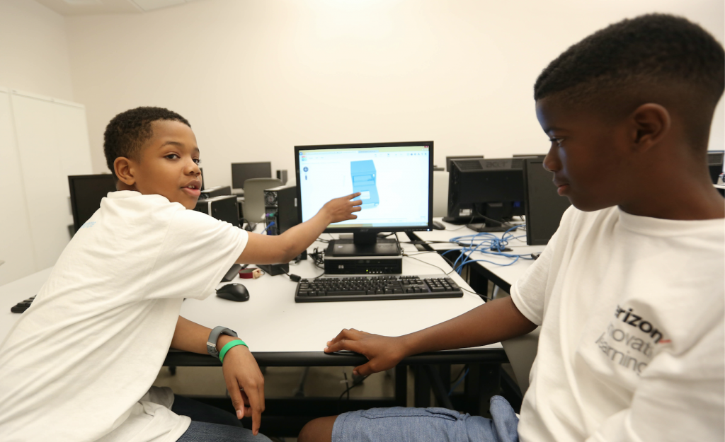 Steven Wansley and his friend Joshua Good, who are sixth-graders at Olde Towne Middle School, combined both their ideas to design a car that they hope to be produced by Nissan North America in Canton. (Photo by Kentrice S. Rush/JSU)