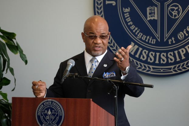 "Jackson State University President William Bynum Jr., meeting with media Friday in the Welcome Center on the main campus, said he will fully champion JSU as a fundraiser. ""The first part of fundraising is friend-raising, getting out and about and letting people touch and feel and hear from me about my vision and commitment. … We're going to get out and meet a bunch of folks, talk to people and interact with them."" (Photo by Charles A. Smith/JSU)"