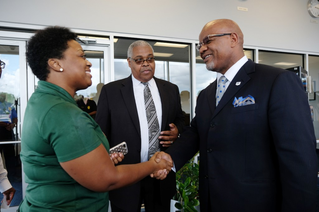 Bynum greets constituents during a press conference in which he stated that the university will do everything in its power to guarantee students receive a return on their investment. (Photo by Charles A. Smith/JSU)
