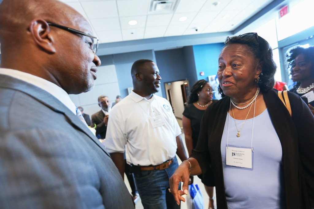 JSU President William B. Bynum Jr. boasts about the facility as he greets participants and visitors. (Photo by Aron Smith/JSU)