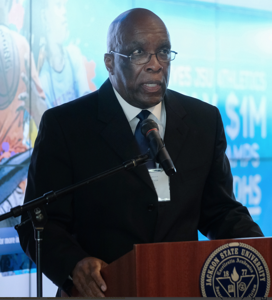 State Rep. Percy W. Watson of Hattiesburg extends greetings to the audience in the building he helped to secure. (Photo by Charles A. Smith/JSU)