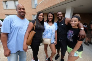 Nyasia Jones, center, is ready to check out the campus with her family. (Photo by Charles A. Smith/JSU)