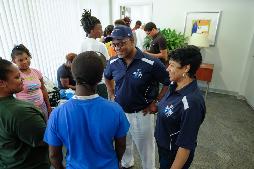 During the HBCU's freshmen and transfer students' move in day, parents were comforted by the steady presence of president Bynum and the first lady.  (Photo by Charles A. Smith/JSU)