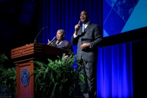 Displaying their usual humor and crowd-engaging banter, WJSU's Gina Carter-Simmers and JSU TV's Rob Jay warmed up the crowd before the start of the opening session. (Photo by Charles A. Smith/JSU)