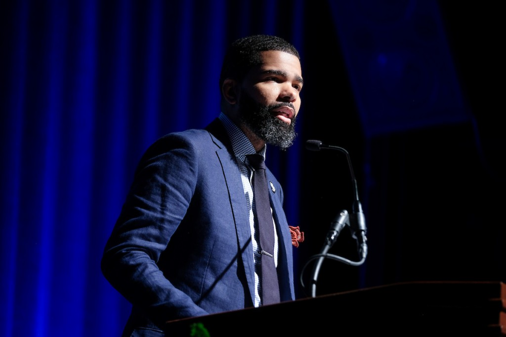 """Extending greetings on behalf of the City of Jackson, Mayor Chokwe Antar Lumumba described Jackson State University as a """"marketplace of ideas."""" (Photo by Charles A. Smith/JSU)"""