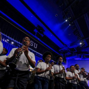"""Sonic Boom members pumped up the crowd with """"Get Ready."""" (Photo by Charles A. Smith/JSU)"""