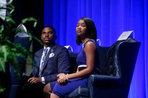 Student leaders vowed to embrace a cooperative working spirit with administrators, faculty and staff to move the university forward. Representing JSU for the 2017-2018 academic season are DeAngelo Riddle as Mr. Jackson State University and Comelia Walker as Miss Jackson State University. (Photo by Charles A. Smith/JSU)