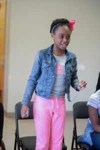 Camper Marley Short gets into character during an acting class. (Photo by Charles A. Smith/JSU)
