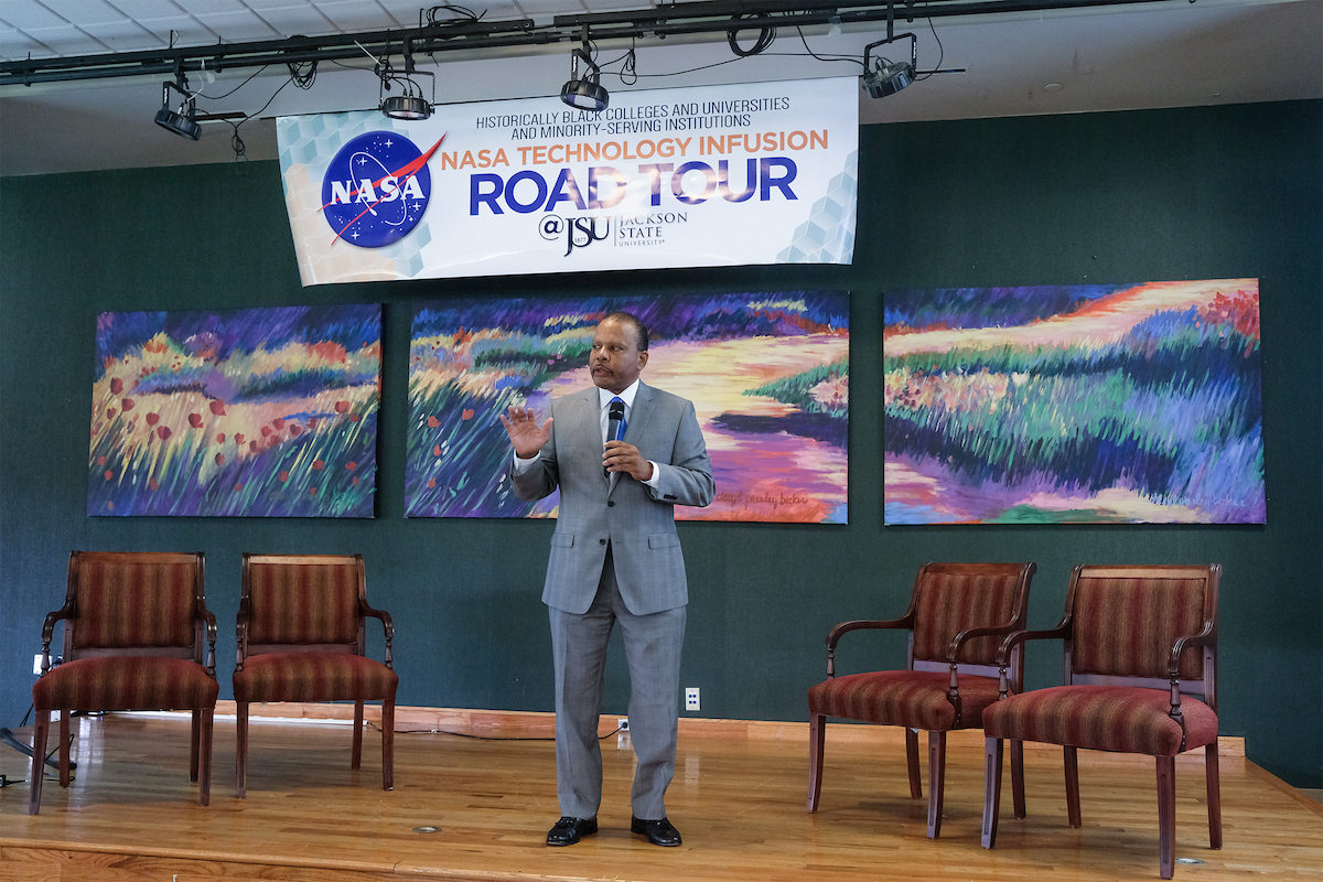JSU alum Malcolm Jackson of Washington, D.C., is vice president of Strategic Accounts Phase One Consulting Group. He was Tuesday's keynote speaker at the NASA Technology Infusion Road Tour and advised participants to learn how to navigate federal contracts while delivering their best products and services. The event was hosted by JSU's College of Business; College of Science, Engineering and Technology (CSET), Information Technology; and Research and Sponsored Programs. (Photo by Charles A. Smith/JSU)