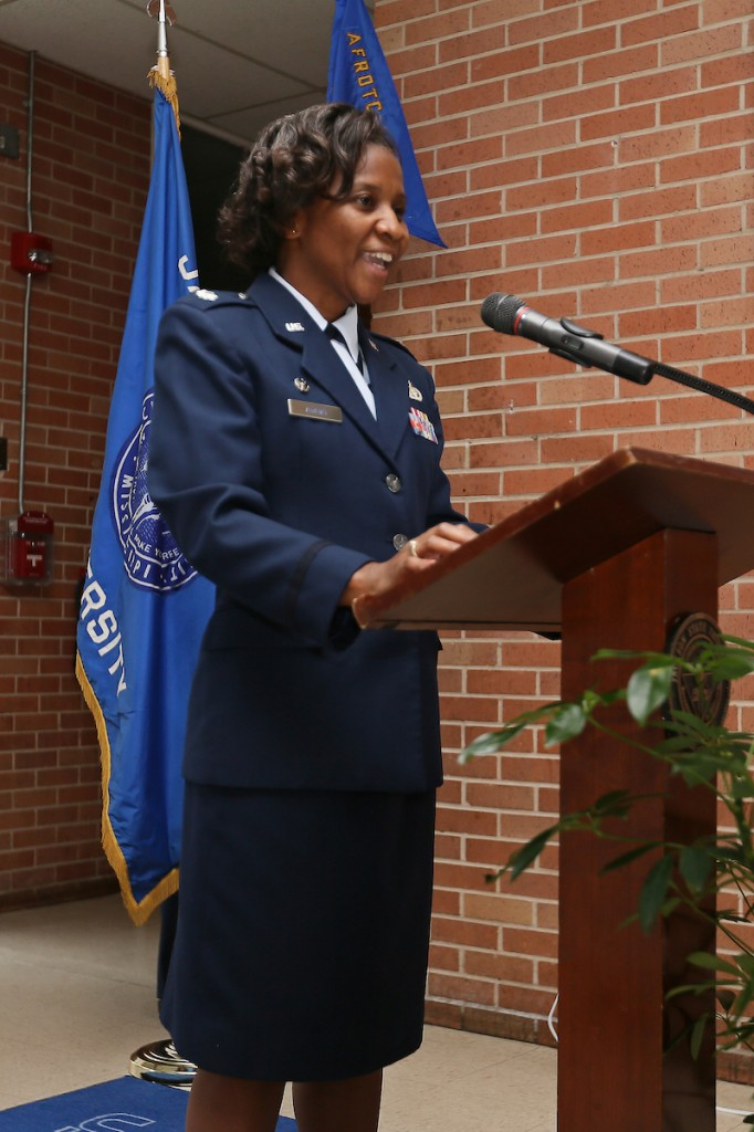 "Lt. Col. Shander Adams vows to continue developing a diverse culture of excellence, academic achievement and professionalism at Jackson State University. She told the audience inside the J.Y. Woodard building that JSU will create ""successful leaders with a solid foundation and with a focus on service before self and excellence in all we do."" (Photo by Aron Smith/JSU)"