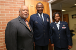 U.S. Rep. Bennie Thompson, with Henderson and Adams, lauded JSU for providing the nation with exceptional service members who'll risk their lives to defend the nation. (Photo by Aron Smith/JSU)