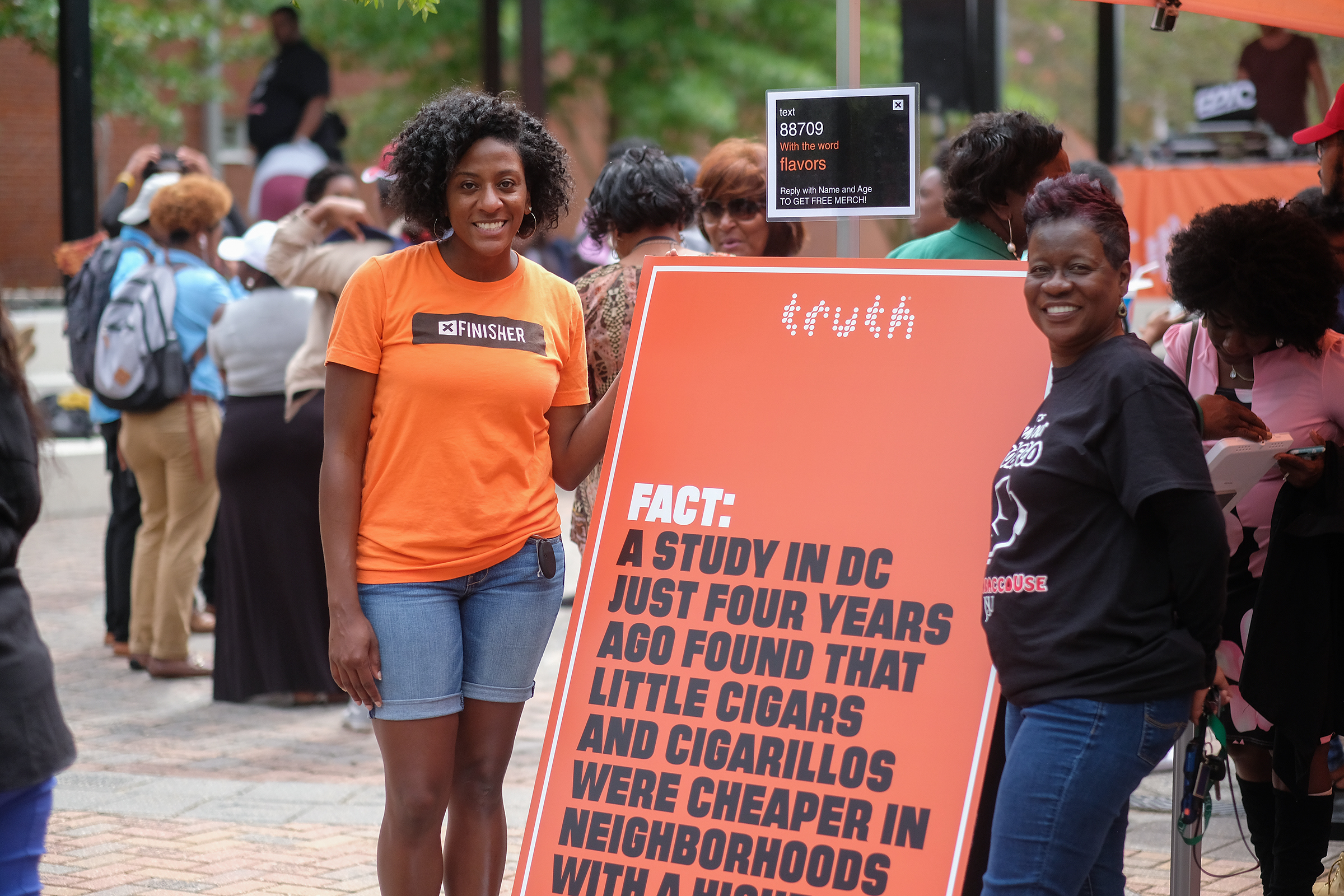 Denise Smith, manager of Truth's HBCU Initiative and Terry Bennett, prevention specialist for JSU's Metro Jackson Community Prevention coalition help to raise awareness about the dangers of smoking. (Photo by Charles A. Smith/JSU)
