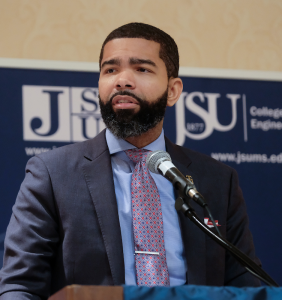 "Jackson Mayor Chokwe A. Lumumba said, ""The way we begin to change the world is not because one individual has all the ideas but rather because of the process of collective genius."" (Photo by Charles A. Smith/JSU)"