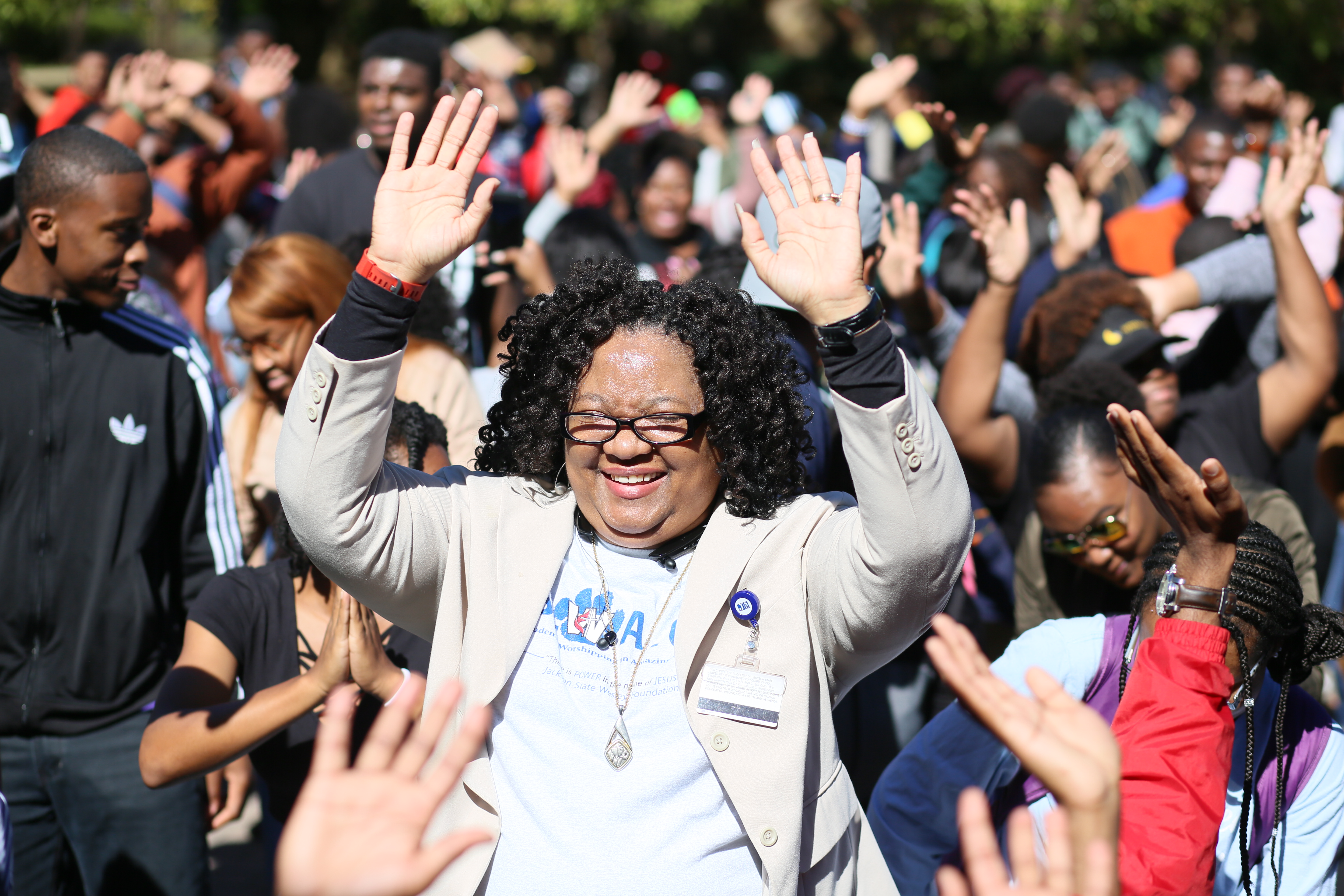 The Rev. Maxine Bolden shares in a hallelujah moment with JSU students during a Hotspot event Monday on the Gibbs-Green Plaza. (Photo by Anissa Hidouk/JSU)