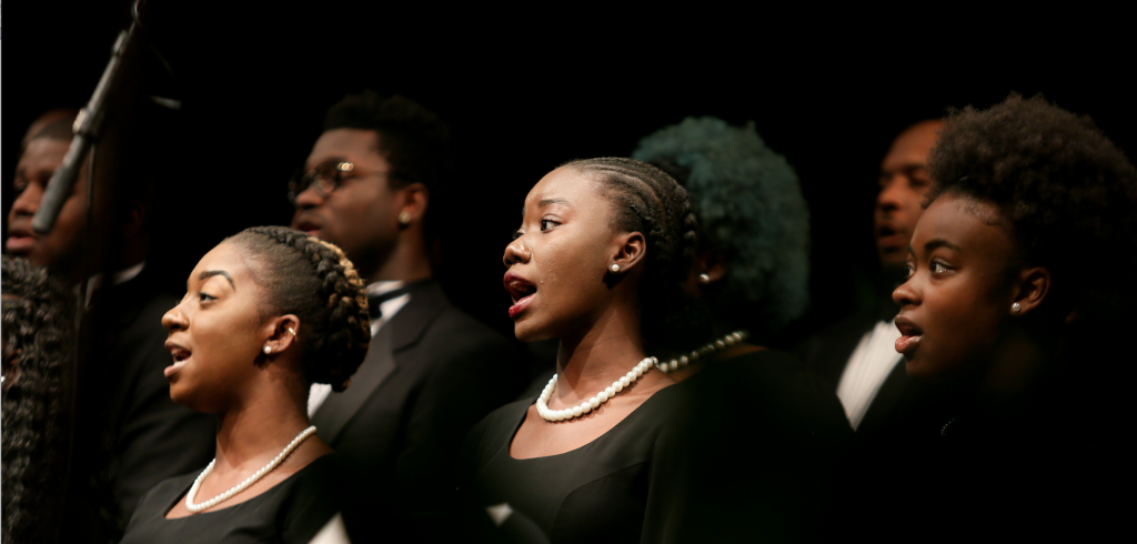 """The JSU Chorale performs """"Daniel, Daniel, Servant of the Lord"""" during the ceremony. (Photo by Anissa Hidouk/JSU)"""