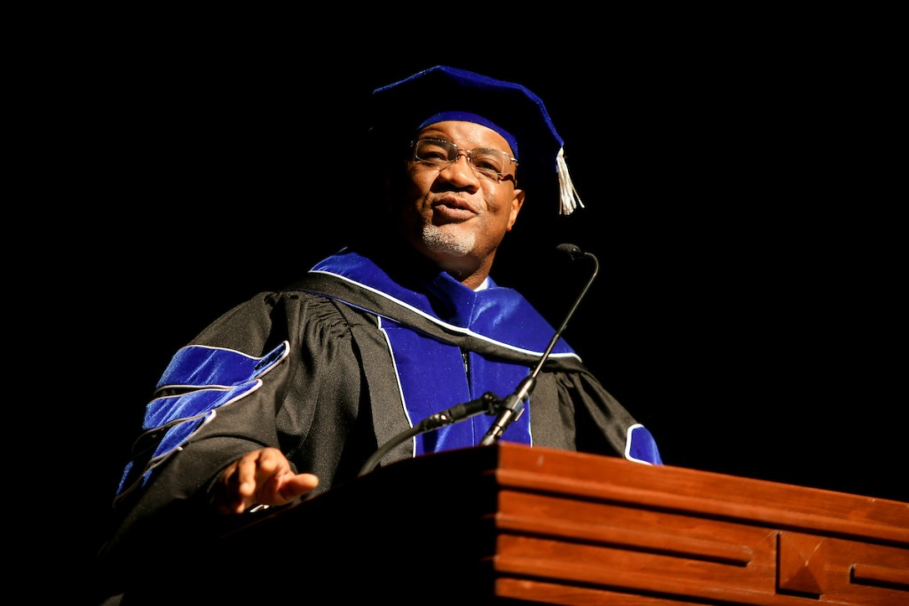 President William B. Bynum thanked university founders and forbearers for making JSU a pillar of higher education and a sacred institution. (Photo by Anissa Hidouk/JSU)