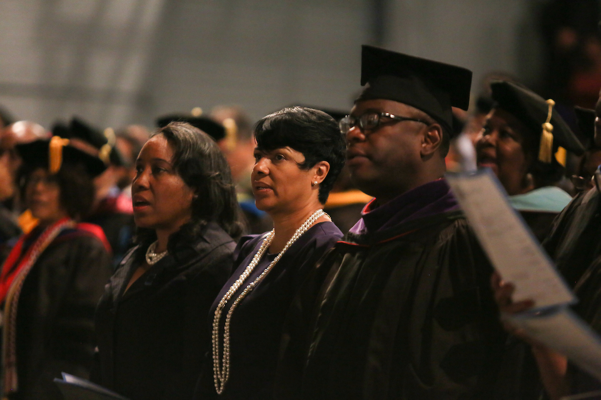 Audience members participate by singing the alma mater. (Photo by Anissa Hidouk/JSU)