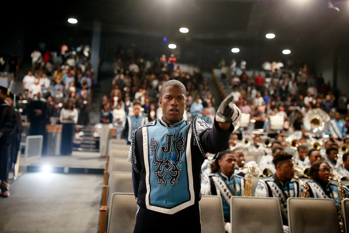 """JSU's Sonic Boom stirs the crowd with its signature performance of """"Get Ready."""" (Photo by Anissa Hidouk/JSU)"""