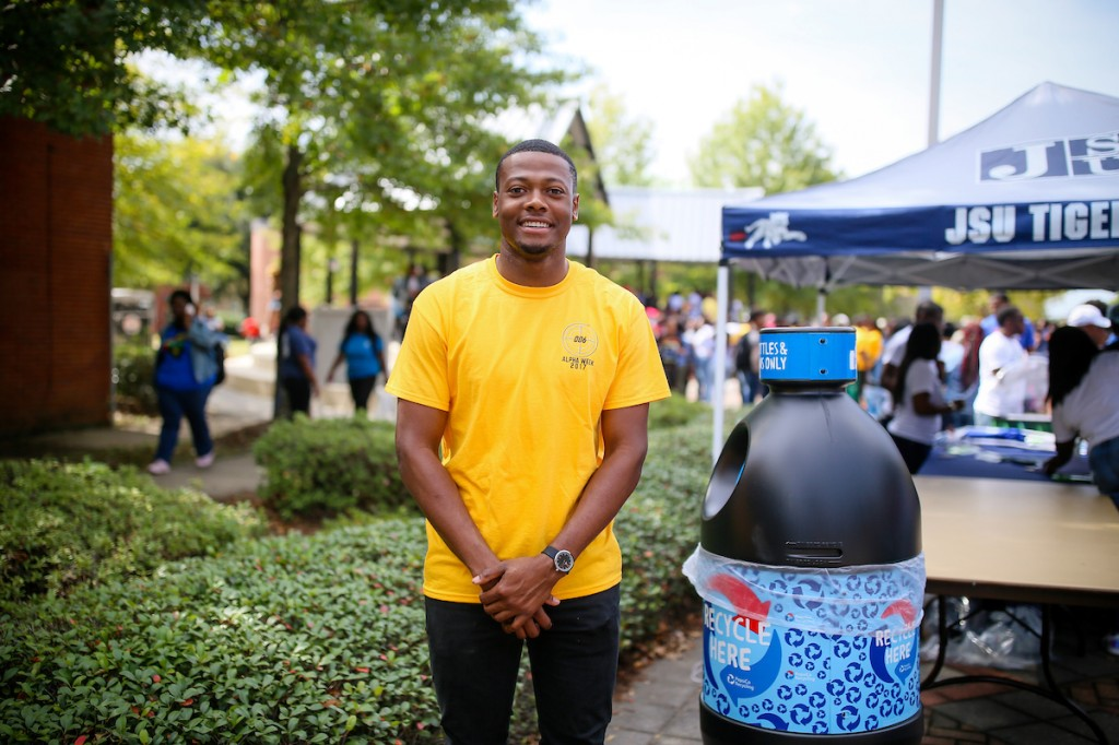 Telandus Craft, standing next to a Pepsi receptacle, is a member of Alpha Phi Alpha Fraternity that hosted the Hotspot. (Photo by Anissa Hidouk/JSU)
