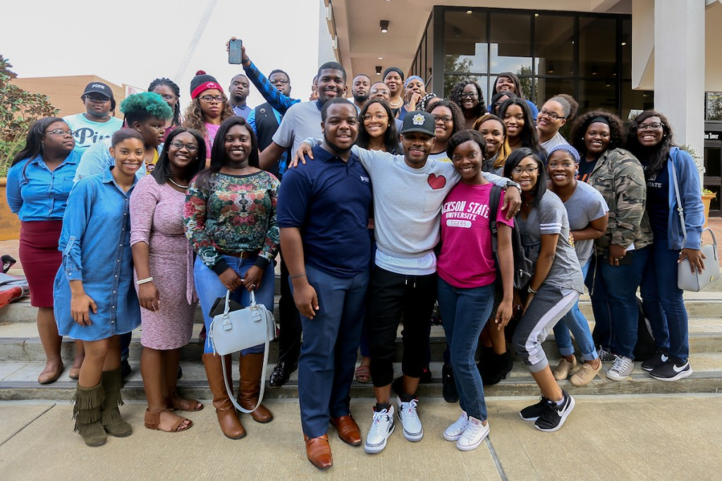 """Do you want a revolution?"" singer, Kirk Franklin, had the JSU Mass Choir all smiles as he praised their example of faith and service. (Photo by Anissa Hidouk/JSU)"