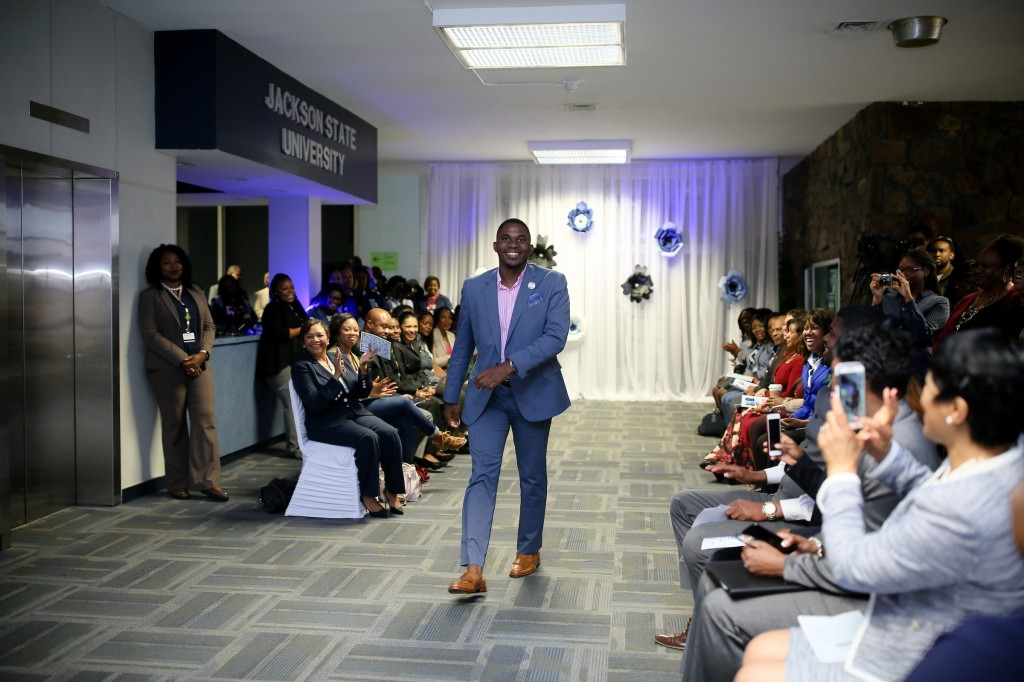 Jackson State University's first Mister JSU, DeAngelo Riddle, modeled one of the suits he donated to the initiative. (Photo by Anissa Hidouk/JSU)