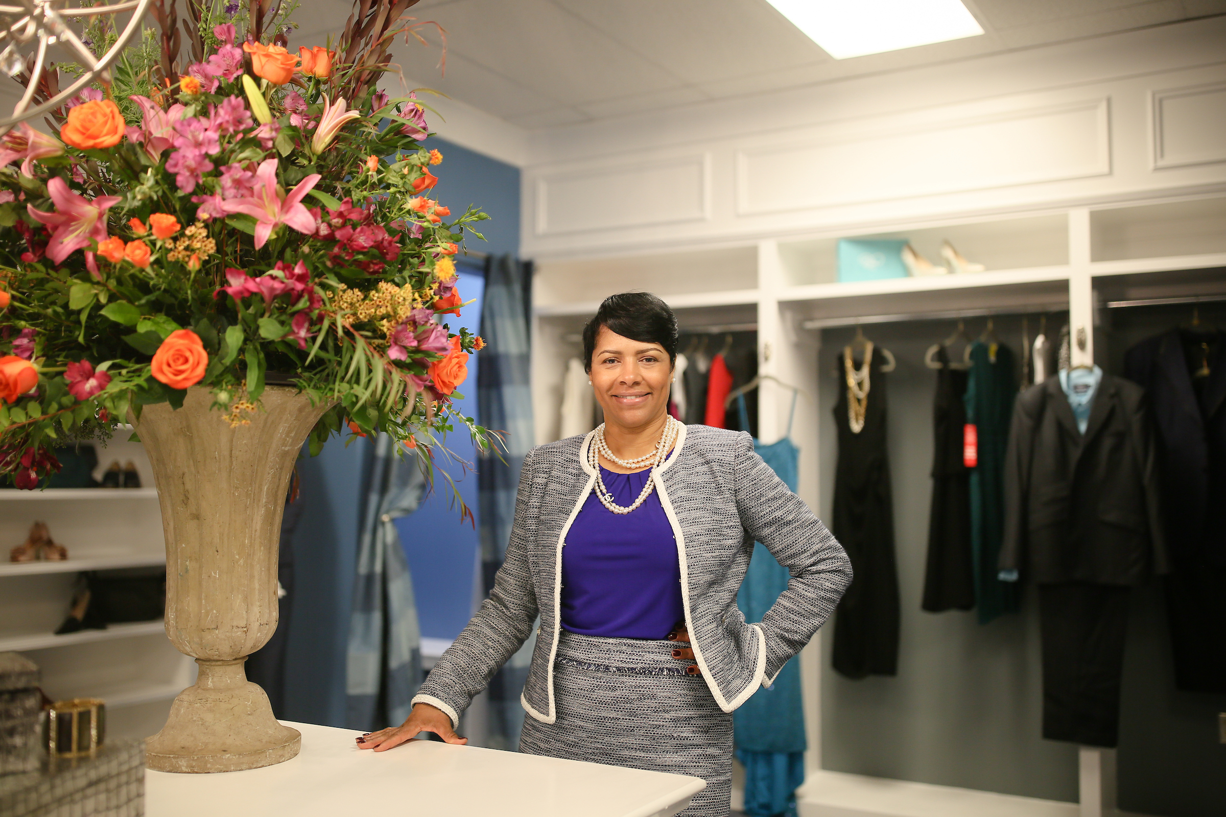 """I am really impressed with the way everything turned out. The closet is beautiful, and I am excited that this resource will be available to our students,"" said Deborah Bynum. (Photo by Anissa Hidouk/JSU)"