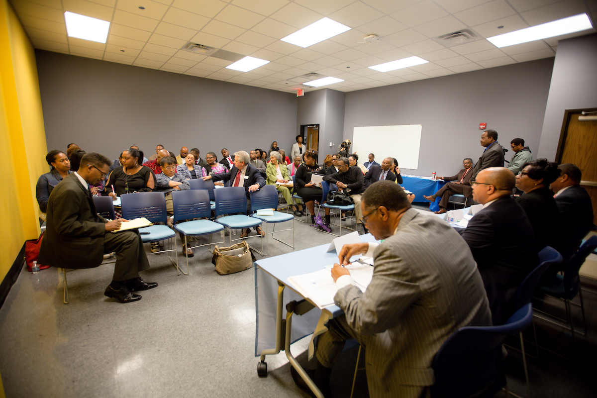 Leaders, educators and other concerned constituents discuss their concerns with Mississippi's Accountability Grading System. (Photo by Anissa Hidouk/JSU)