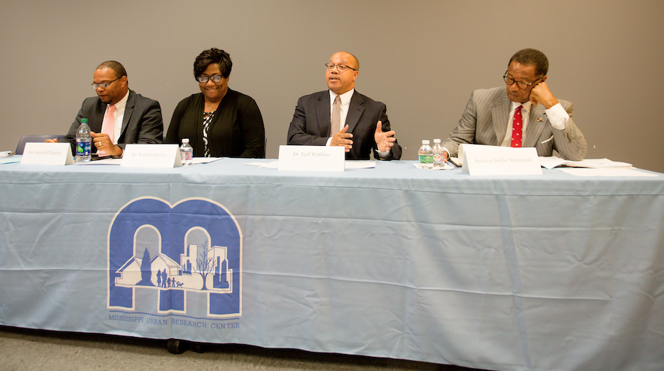 A panel assembled last week to discuss critical questions about Mississippi's Accountability Grading System after a JSU study shows it fails to live up to its intended purpose. Panelists are, left, the Rev. Kenneth Thrasher, president of the school board for Hazlehurst City Schools; Rosaline McCoy, president of the Jackson Council PTA-PTSA; Dr. Earl Watkins, chief executive officer for Leading2Leap LLC; and state Sen. Sollie Norwood. (Photo by Anissa Hidouk/JSU)
