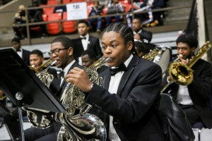 "The University Symphonic Band gets the processional underway with ""Pomp and Circumstance.""(Photo by Charles A. Smith/JSU)"