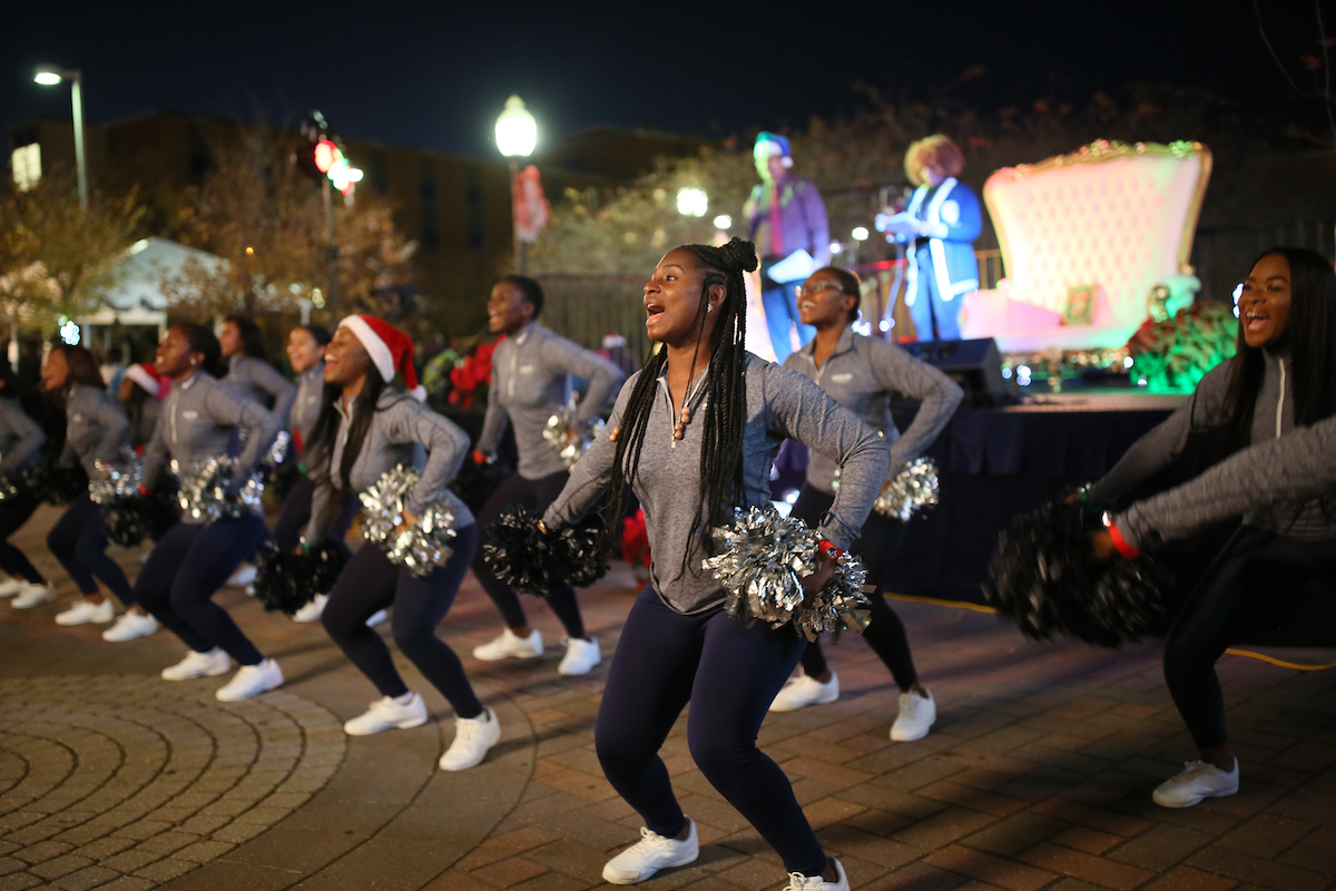 JSU cheerleaders rally the crowd to get excited about the holidays. (Photo by Aron Smith/JSU)