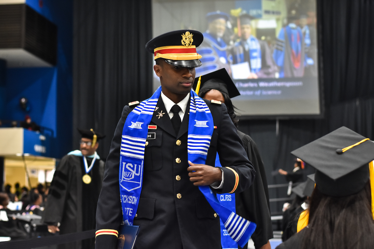 Second Lt. Ronald R. Mushi received his bachelor's degree during the combined graduate and undergraduate ceremony on Friday, Dec. 8, in the Lee E. Williams Athletics and Assembly Center. (Photo by William Kelly III/JSU)
