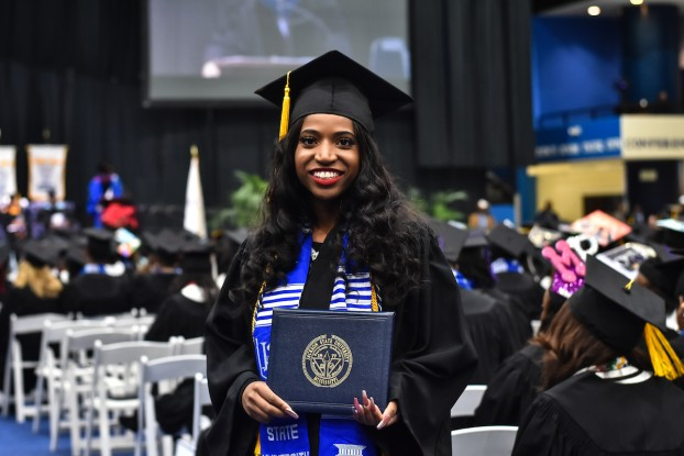 "Rebekah Lee recently received her degree in public health from the School of Public Health. She said professors at JSU ""encouraged me to stay the course, shaped me and so much more."" (Photo by William Kelly III/JSU)"