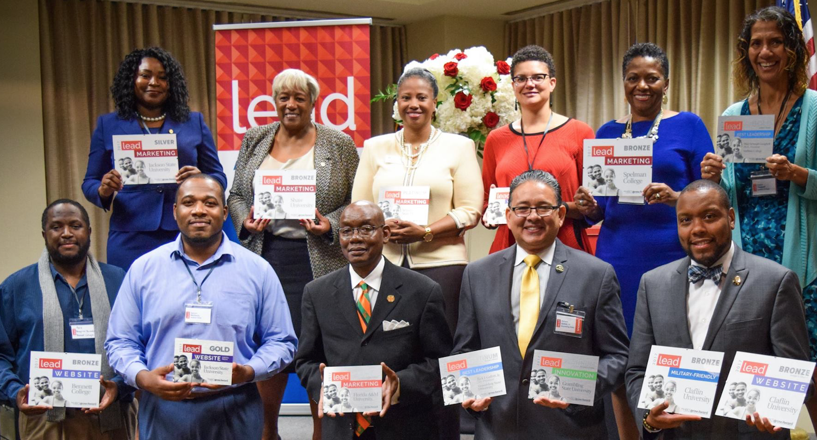 Recipients gather to showcase their HBCUgrow LEAD Awards.