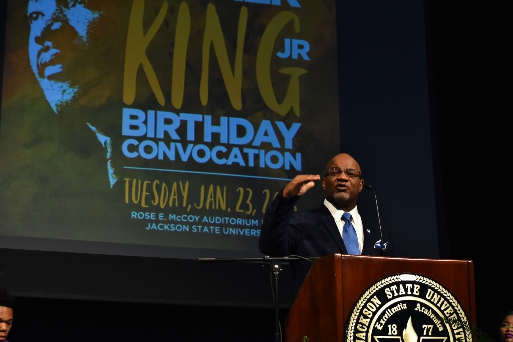 "After Dr. William B. Bynum Jr., gave the welcome at the 50th Annual Martin Luther King Jr. Birthday Convocation, Dr. Joyce Ladner called him an amazing speaker who must ""enthrall all of you when he gets up to talk."" (Photo by William Kelly, III/JSU)"