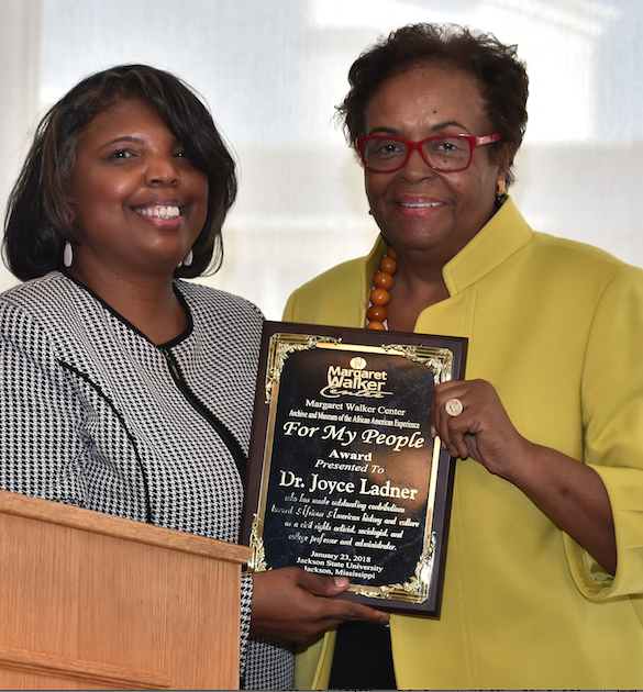 Dr. Joyce Ladner accepts the 'For My People' award in the JSU Student Center Ballroom.
