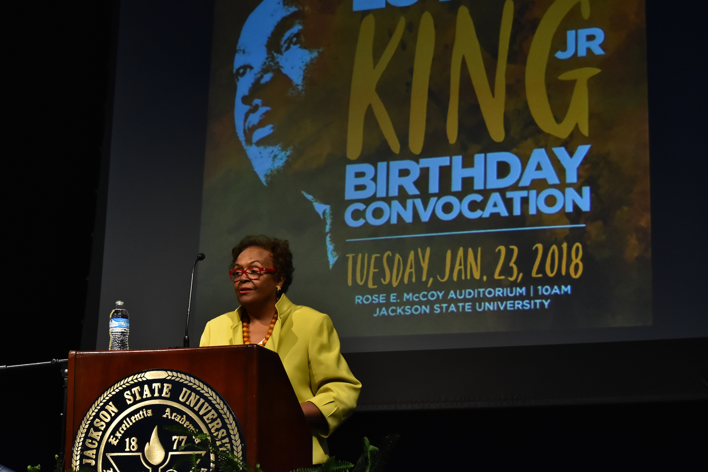Guest speaker for the 50th Annual Martin Luther King Jr. Birthday Convocation Dr. Joyce Ladner had been expelled from JSU, then Jackson College, in 1961 for her participation in civil rights activism. (Photo by William Kelly, III/JSU)